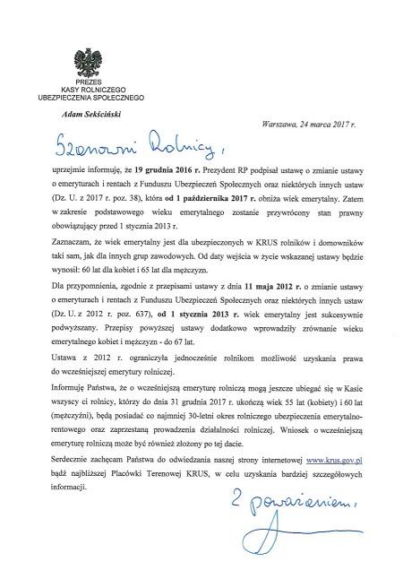 List prezesa w sprawie wieku emerytalnego 2017 450 - List Prezesa KRUS