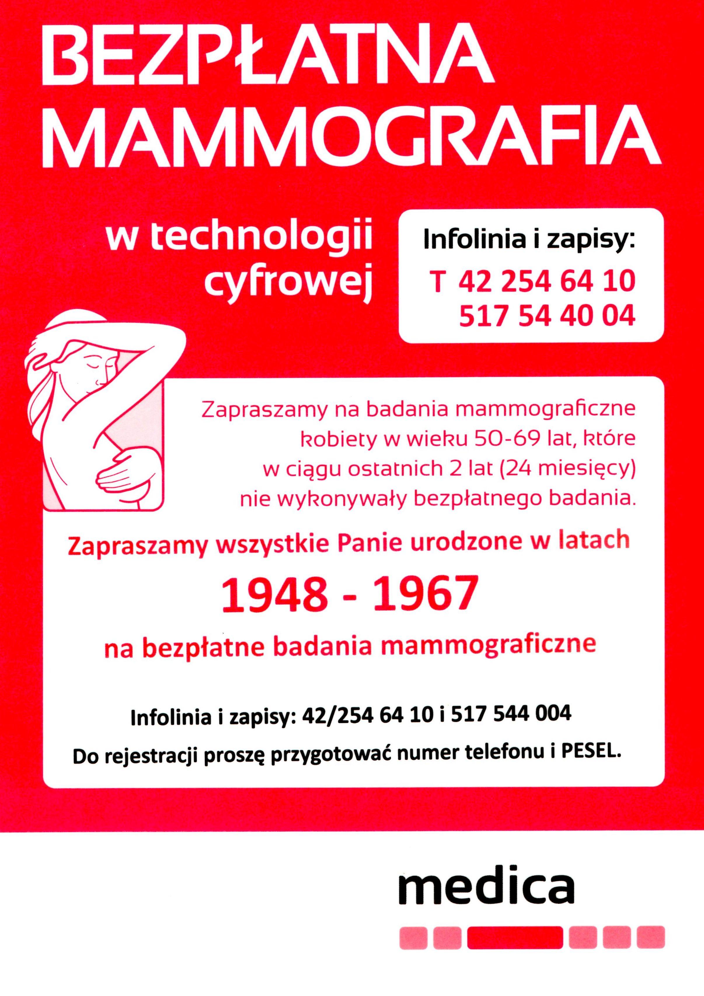 bezplatna mammografia plakat - Bezpłatne badania mammograficzne