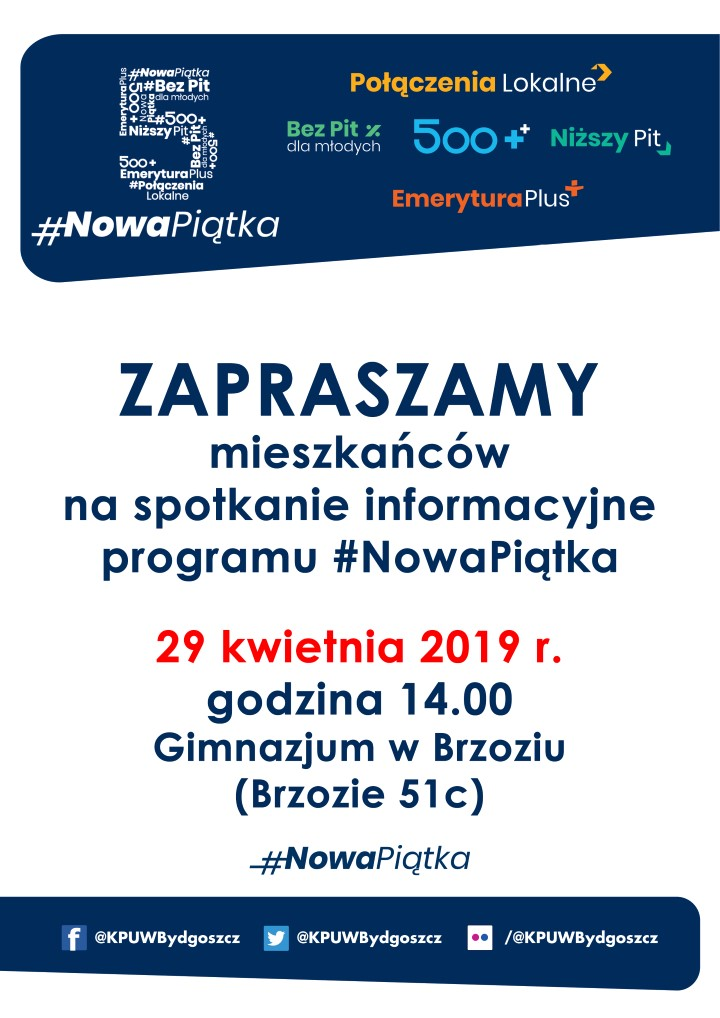 Brzozie plakat Nowa Piątka - #NowaPiątka - spotkanie informacyjne