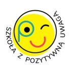 Obrazek przedstawia logo Pozytywnej uwagi - uśmiechnięte żółte słońce na białym tle z napisem szkoła z pozytywną uwagą