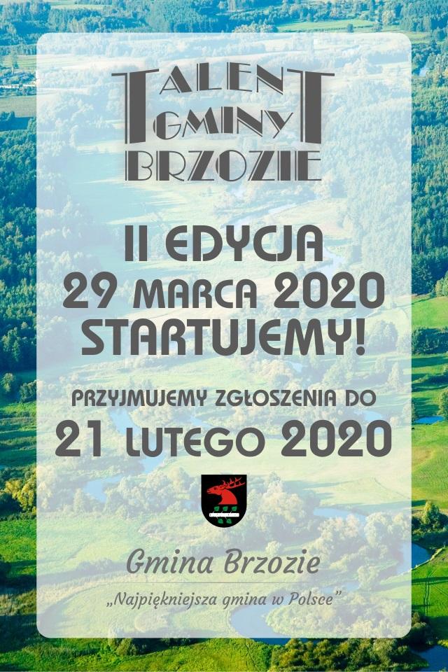 ogłoszenie talenty 2020 - Gala Talentów Gminy Brzozie - II edycja