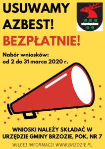 plakat jpg 212x300 - Ogłoszenie o naborze wniosków na usunięcie wyrobów zawierających azbest w 2020 roku