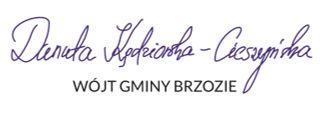 Wójt Danuta Kędziorska Cieszyńska podpis - Komunikat Wójta Gminy Brzozie w sprawie koronawirusa