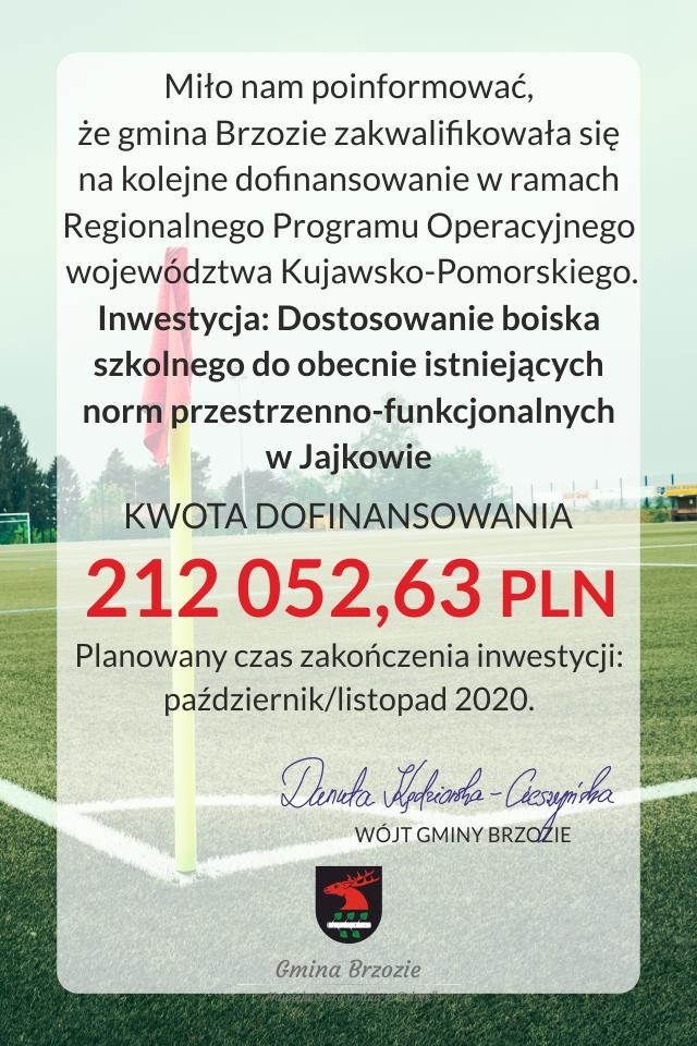 Dofinansowanie na dostosowanie boiska w Jajkowie