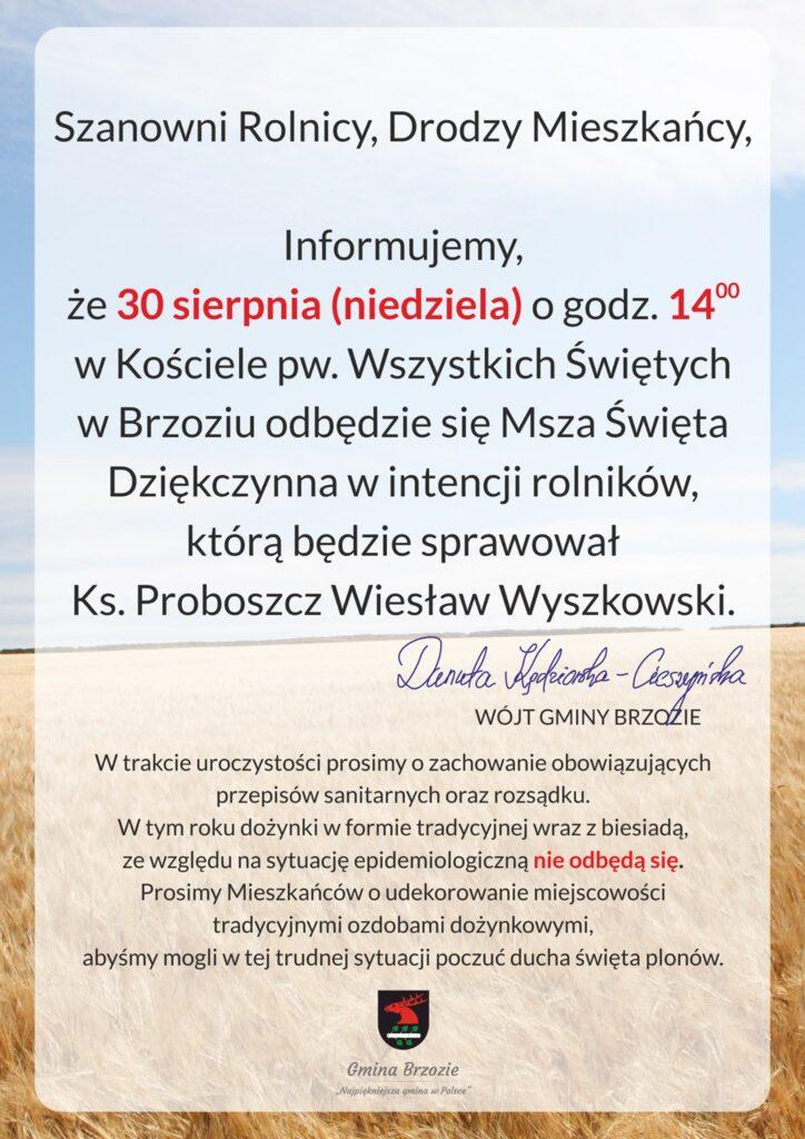 msza 724x1024 - Informacja w sprawie Dożynek Gminnych