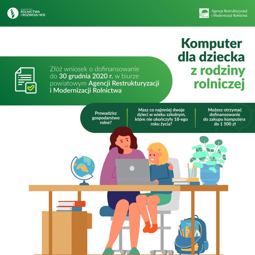 baner komputer dla rodziny 1 1024x1024 - Dofinansowanie zakupu komputera dla dziecka z rodziny rolniczej