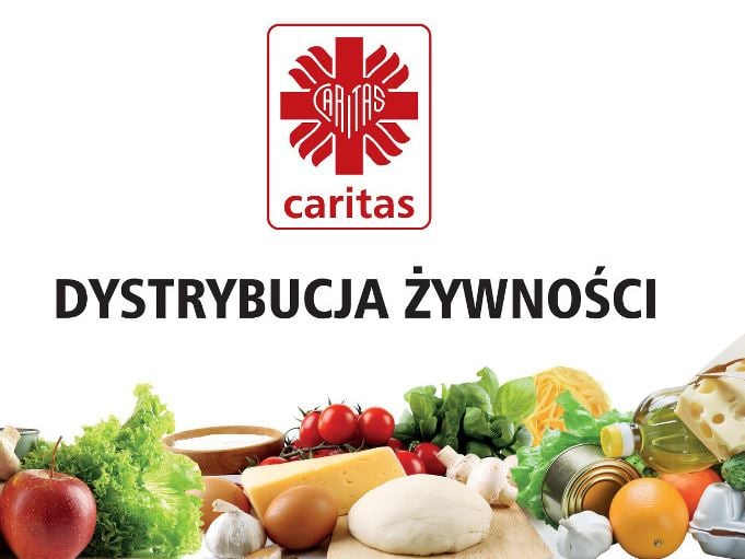 Caritas - dystrybucja zywności w ramach FEAD. Na zdjęciu możemy zobaczyć różne warzywa i logo CARITAS.