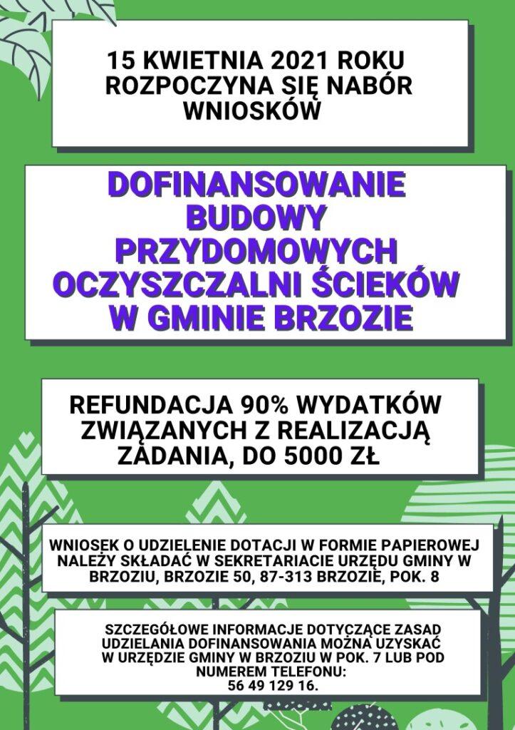 plakat Dofinansowanie budowy przydomowych oczyszczalni sciekow w Gminie Brzozie 723x1024 - Dofinansowanie budowy przydomowych oczyszczalni ścieków  w Gminie Brzozie